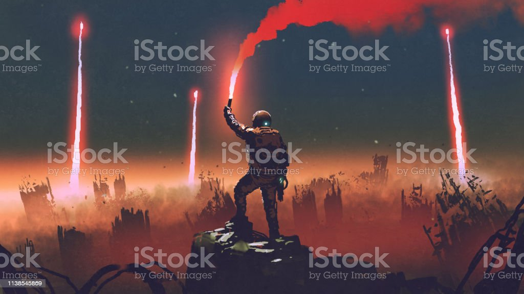 smoke signal of surveyors man holds a red smoke flare up in the air and standing against the apocalypse world, digital art style, illustration painting Adult stock illustration