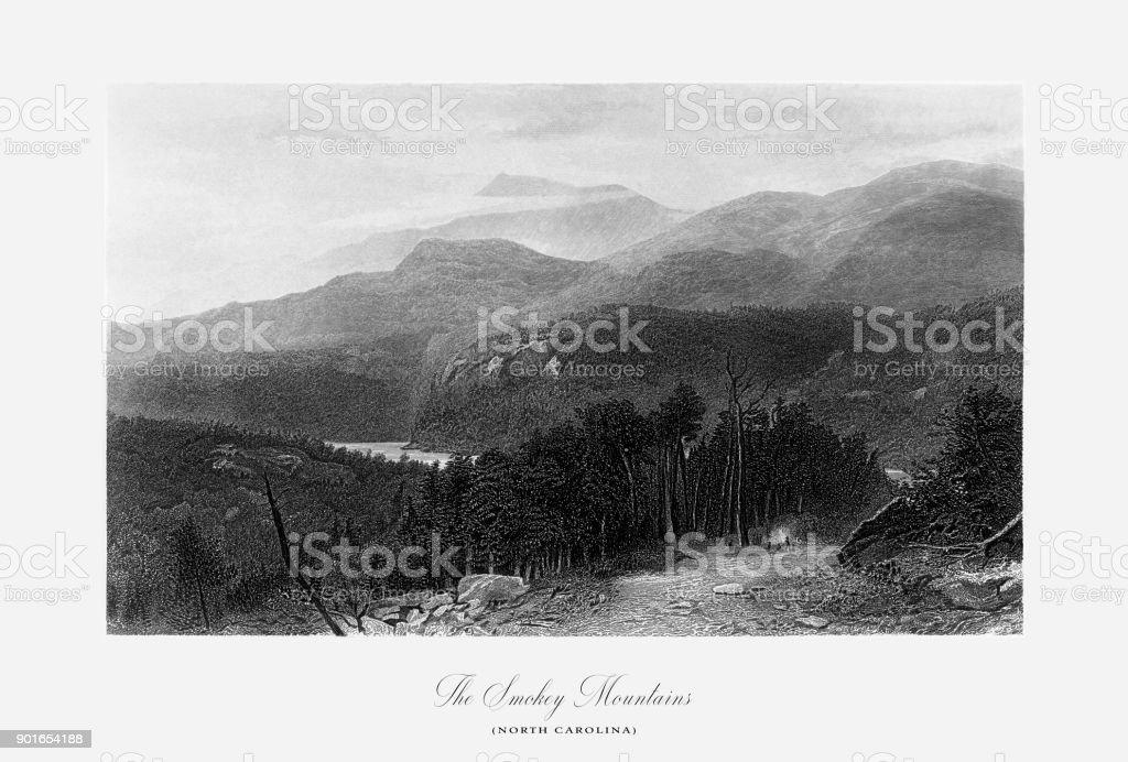 Smokey Mountains, North Carolina, United States, American Victorian Engraving, 1872 vector art illustration
