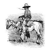 Smoking cowboy on horse
