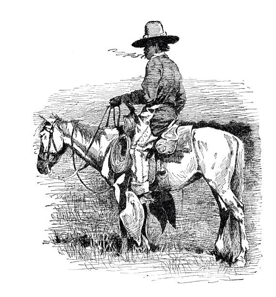 Smoking cowboy on horse Illustration from 19th century rancher illustrations stock illustrations