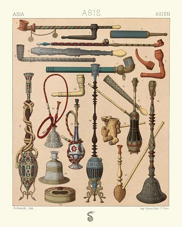 Smoking, Hookah, Water pipes, Cigar, Cigarette holders, Vintage, 19th Century