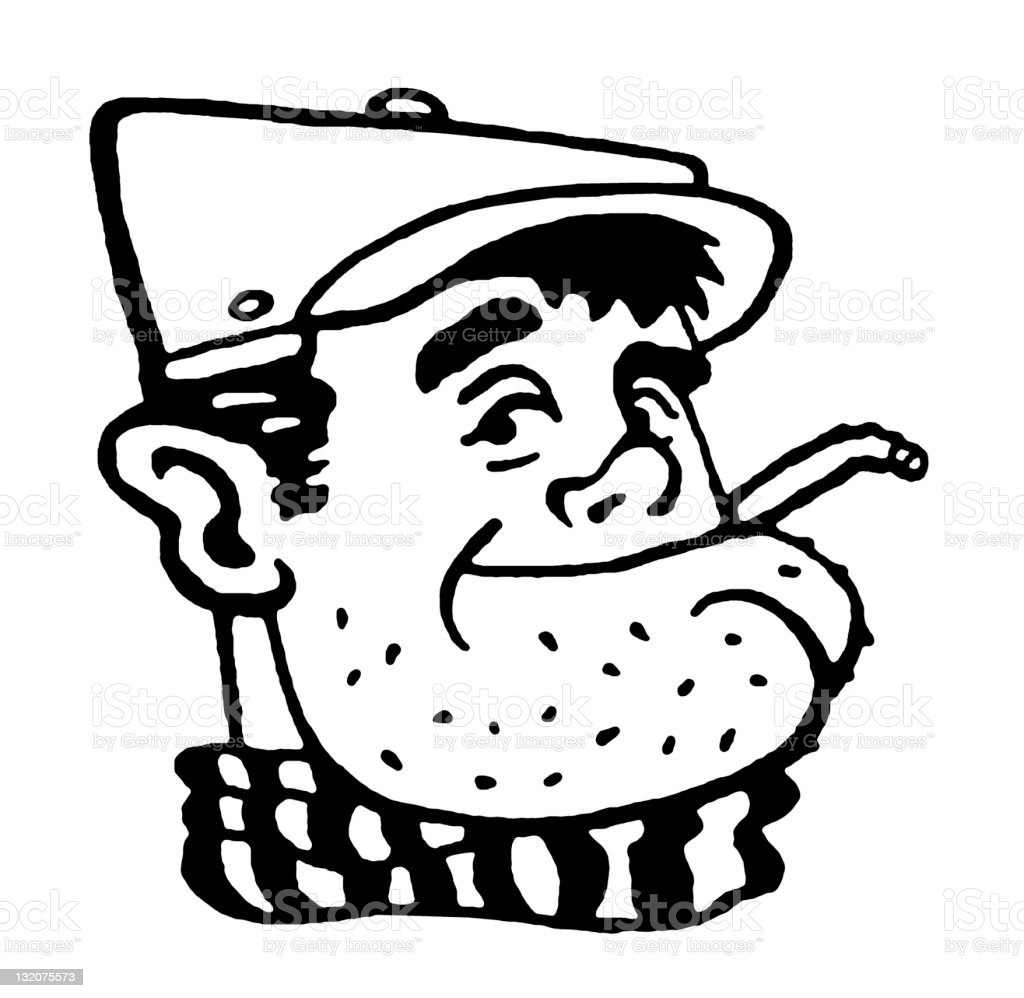 Smoking Man With Stubble royalty-free stock vector art