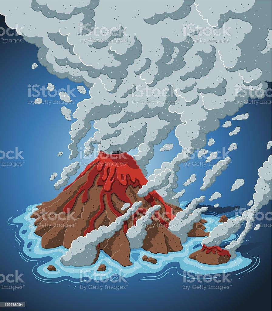 Smoking Volcano Island Stock Illustration - Download Image