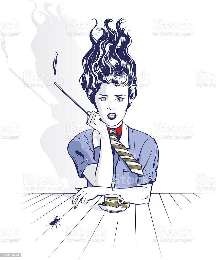 smoking woman portrait royalty-free stock vector art