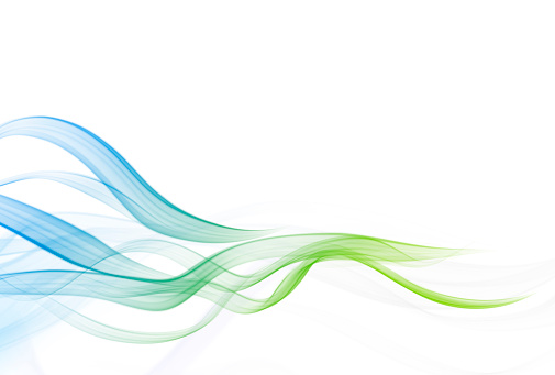 Smooth Abstract wave stream lines. Blue Green Curves Background with Copy Space