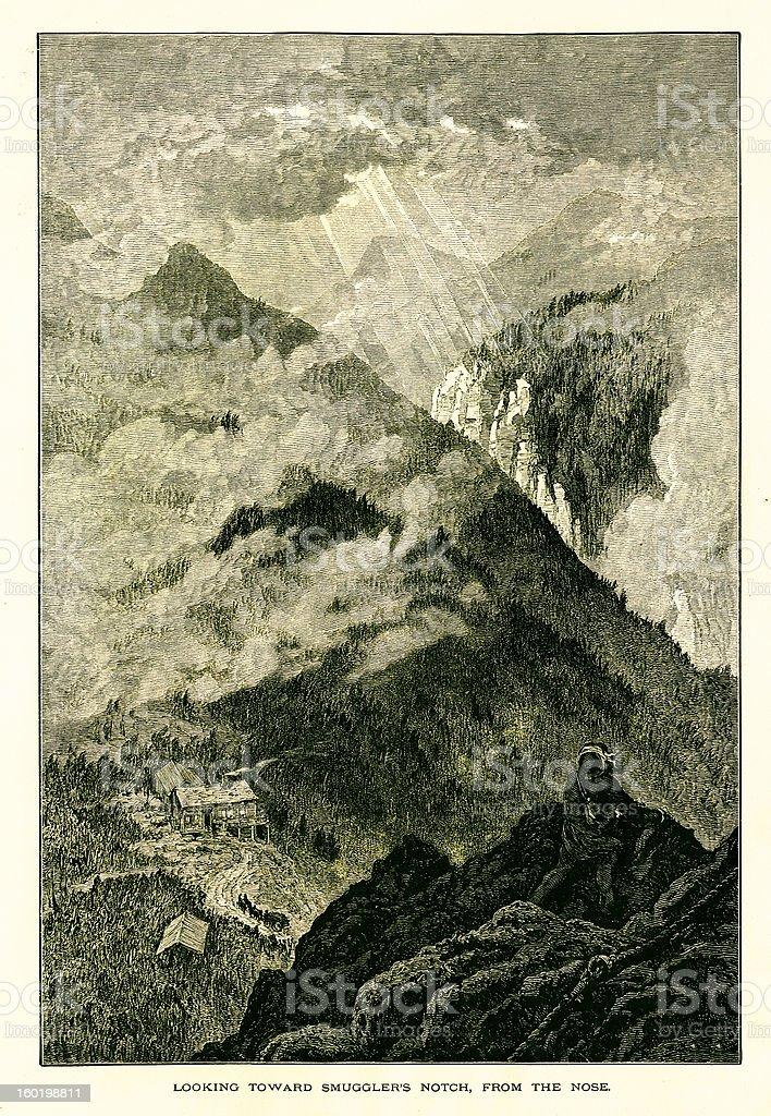 Smugglers' Notch, Vermont vector art illustration