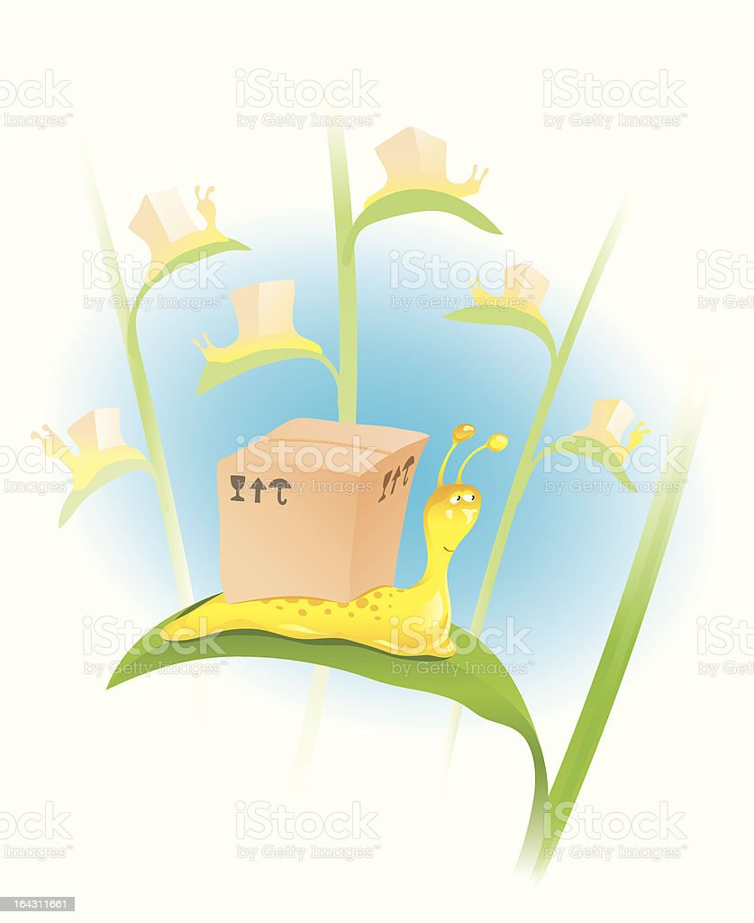Snail with a box royalty-free snail with a box stock vector art & more images of adventure