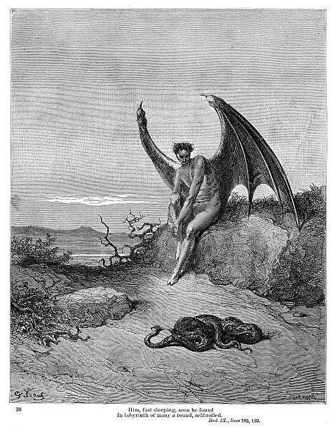 Snake and Evil 1885 Engraving by Gustave Dore. From Milton's Paradise Lost by Robert Vaughan, D.D. Chicago and New York 1885 seven deadly sins stock illustrations