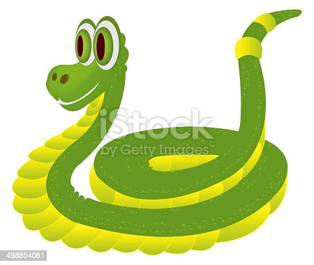 Illustration of green cartoon snake isolated on the white background