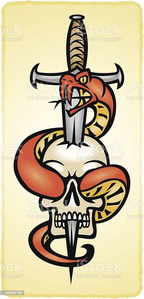 Serpiente espada cráneo - ilustración de arte vectorial