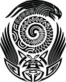 Snake-bird tattoo pattern
