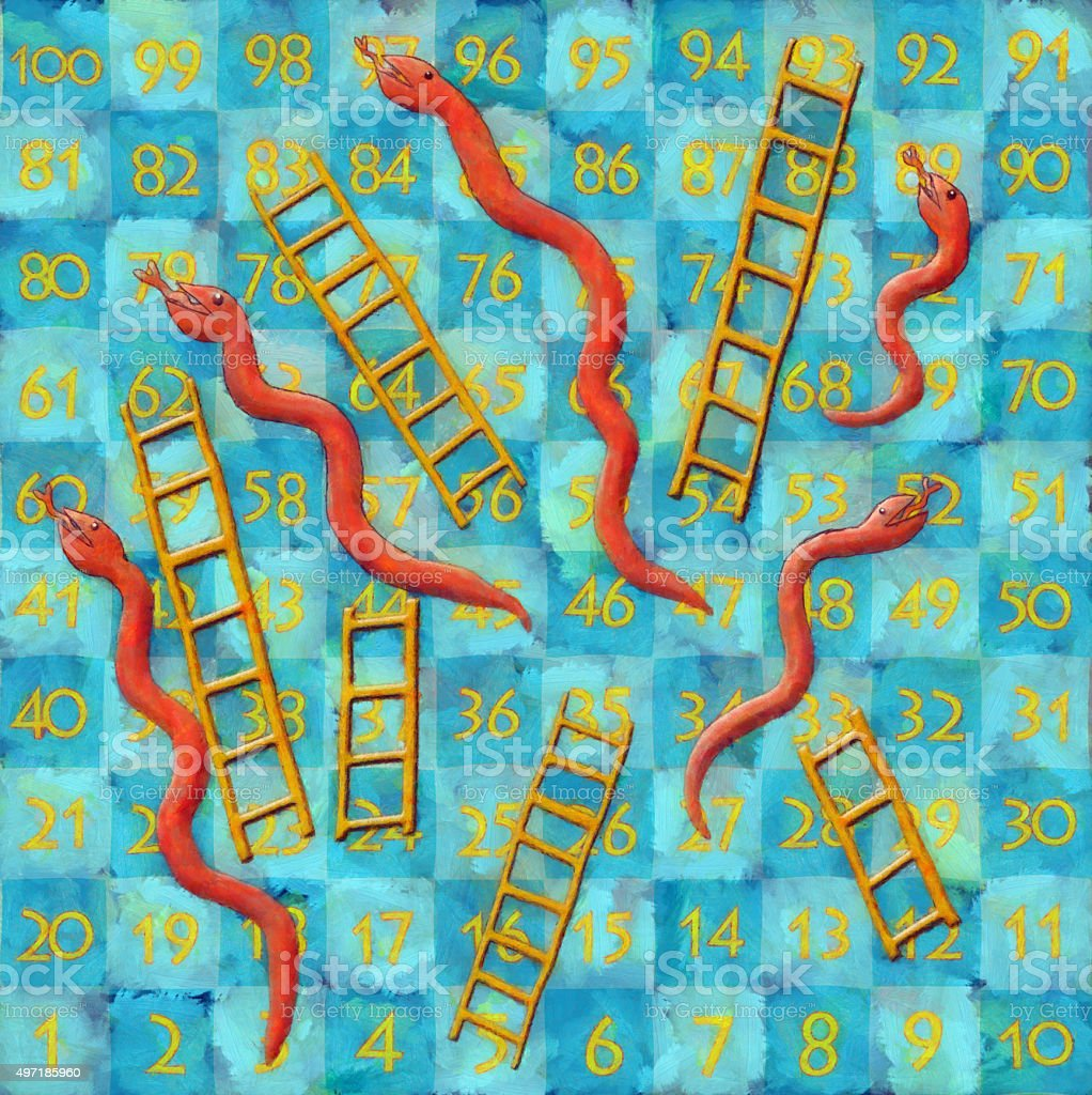 snakes and ladders board game painting stock vector art 497185960