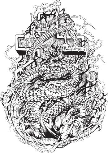 Illustration of snakes around cross.