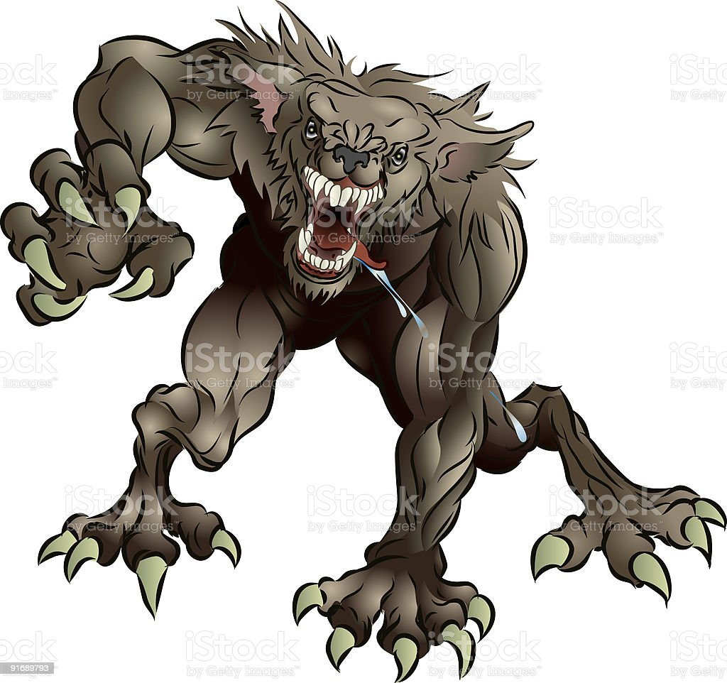 Snarling Scary Werewolf royalty-free stock vector art