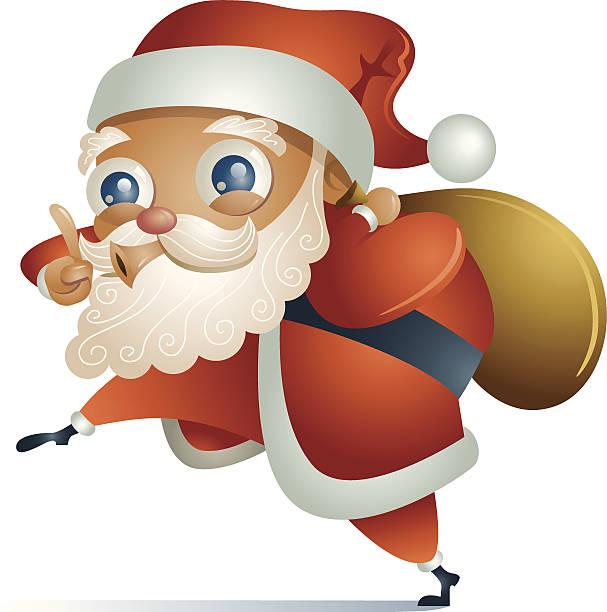 illustrazioni stock, clip art, cartoni animati e icone di tendenza di nascoste st. nick - santa claus tiptoeing