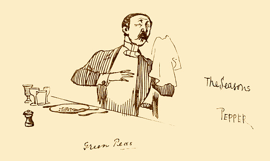 """A Victorian man eating a meal, which includes green peas, to which he has added too much pepper and is suffering the consequences. From """"A Sketch-Book of R. Caldecott's"""". Reproduced by Edmund Evans, engraver and printer. Published by G. Routledge & Sons, London, c1883."""