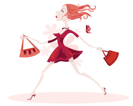 Snooting Lady Running With Her Shopping Bags