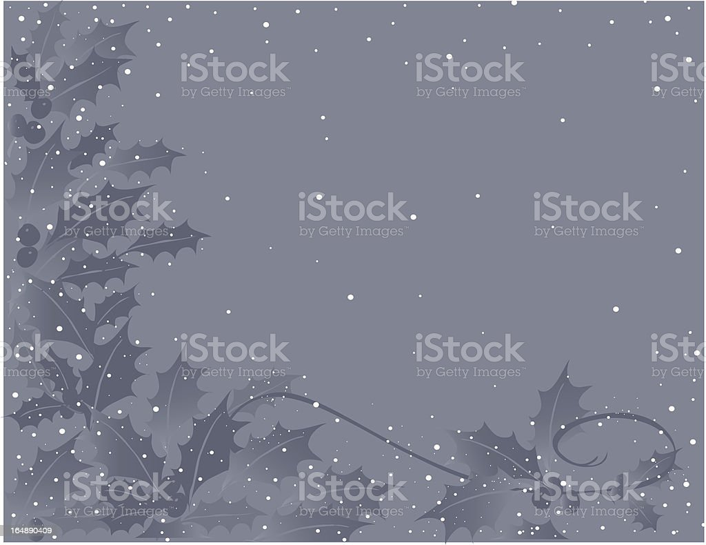 snow falling on holly royalty-free stock vector art