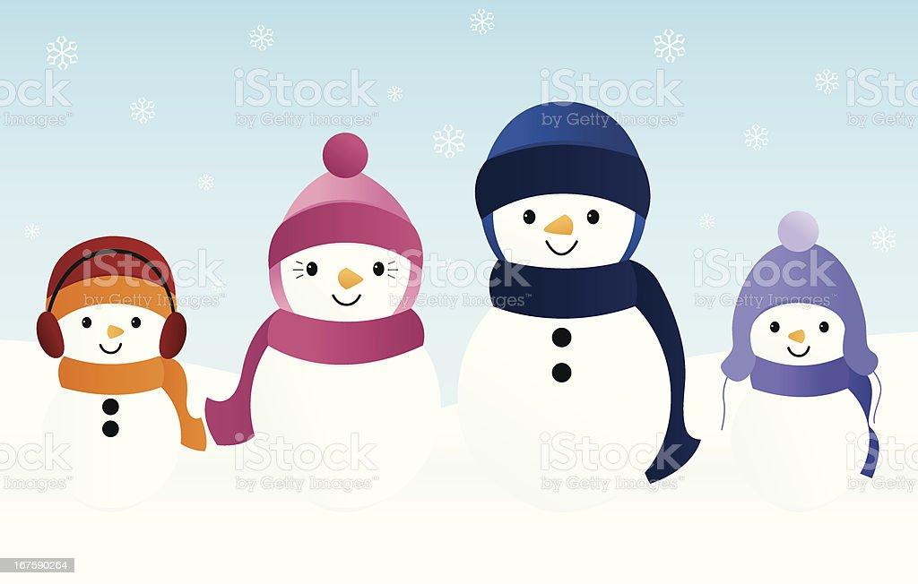 Snow Family vector art illustration