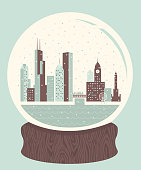 A retro-styled snow globe of Chicago, containing many of the city's landmarks.
