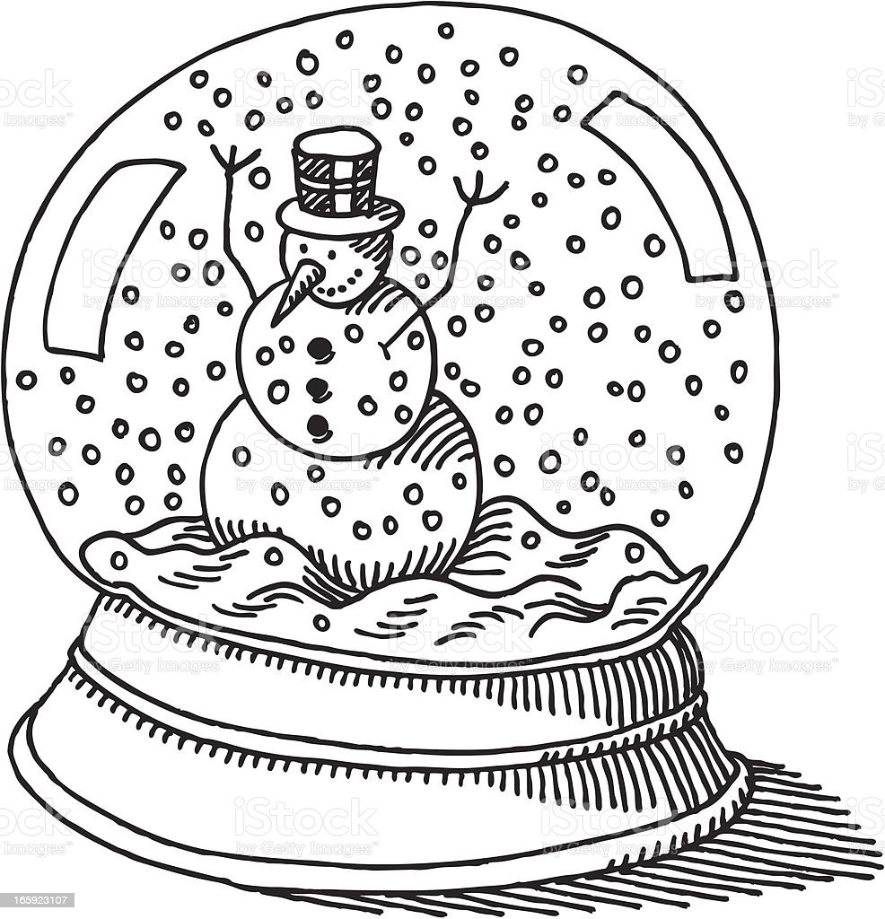 Snow Globe Snowman Drawing Stock Illustration - Download ...