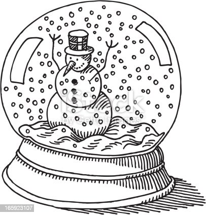 Snow Globe Snowman Drawing Stock Vector Art Amp More Images