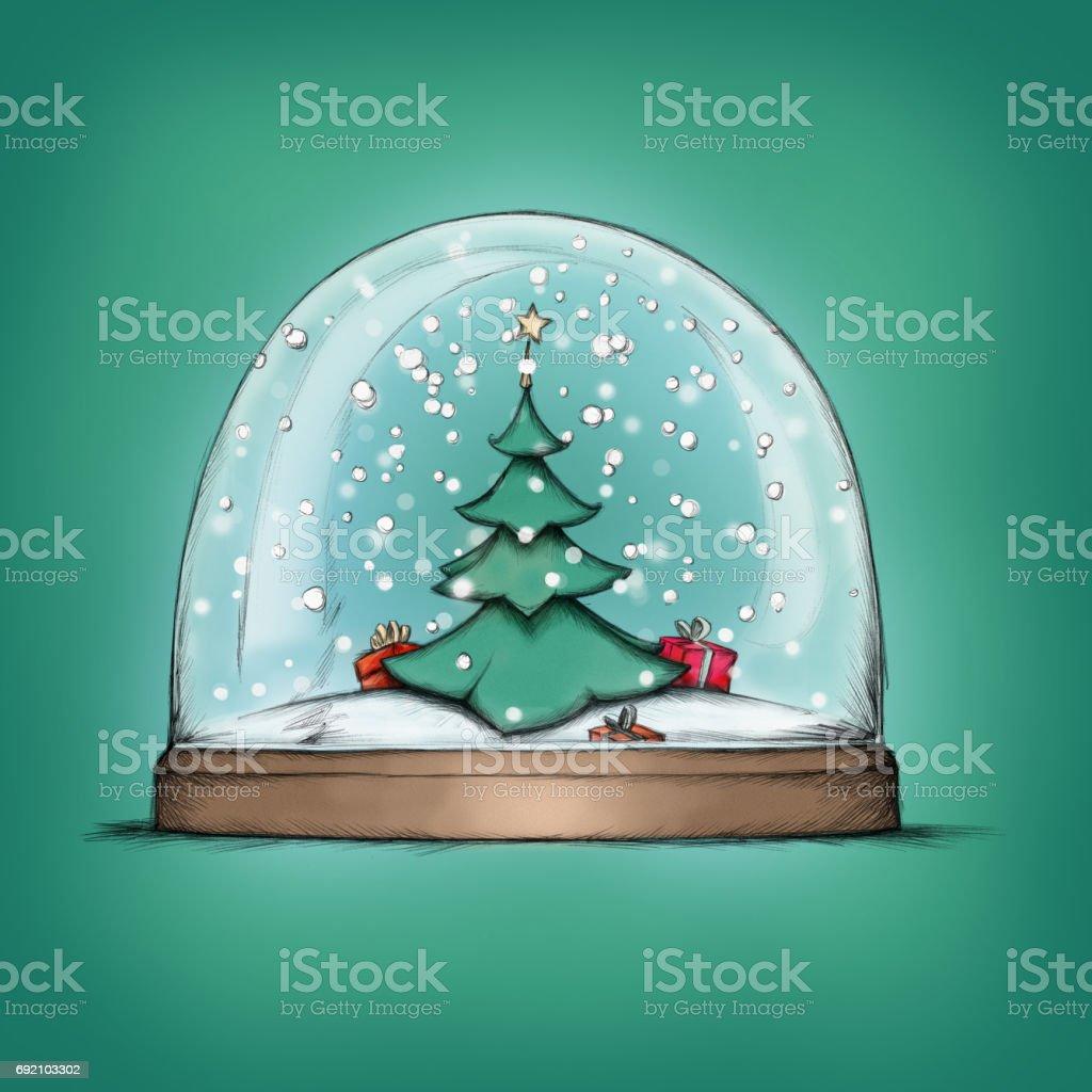 Schneekugel mit einem Weihnachtsbaum – Vektorgrafik