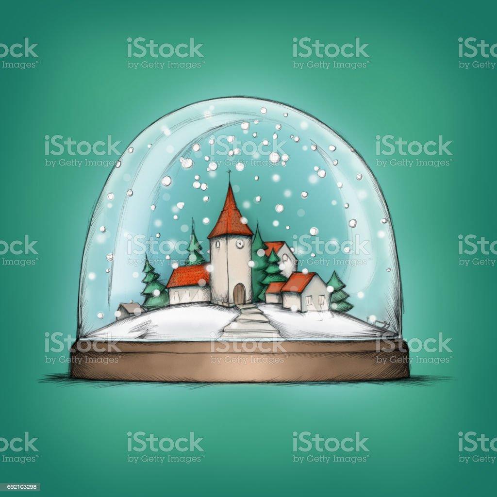 Schneekugel mit einem niedlichen, kleinen Dorf – Vektorgrafik