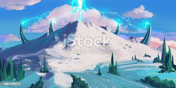 Snow Mountain. Sci Fi Topic. SpitPaint. Concept Art. Fast Drawings. Sketch Paint. Realistic Style. Video Game Digital CG Artwork, Concept Illustration, Realistic Cartoon Style Scene Design