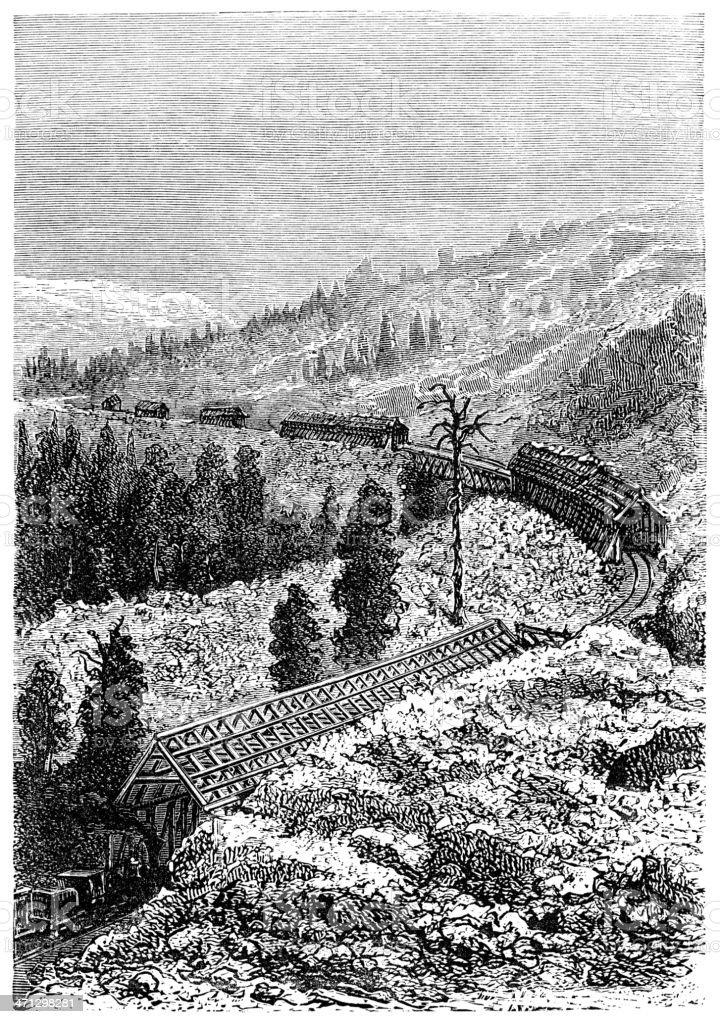 Snow sheds on the Sierra Nevada railway vector art illustration