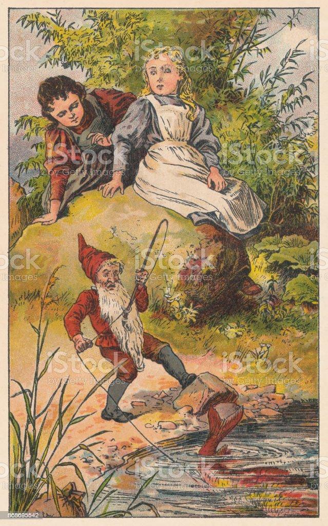 Blancanieves y rosa roja, litografia, c. publicado 1895 - ilustración de arte vectorial