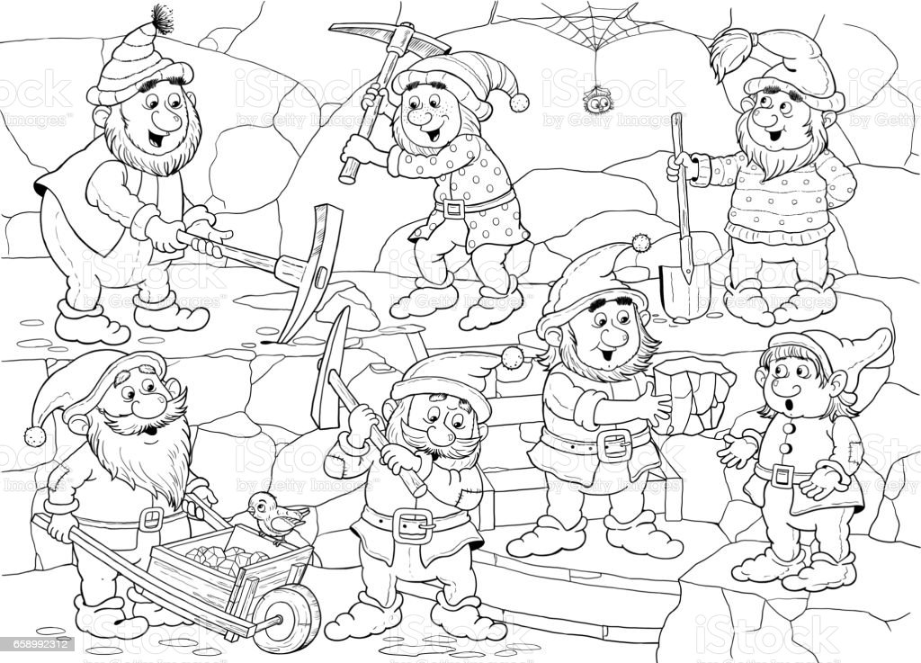 Snow White And The Seven Dwarfs Fairy Tale Coloring Page Coloring ...