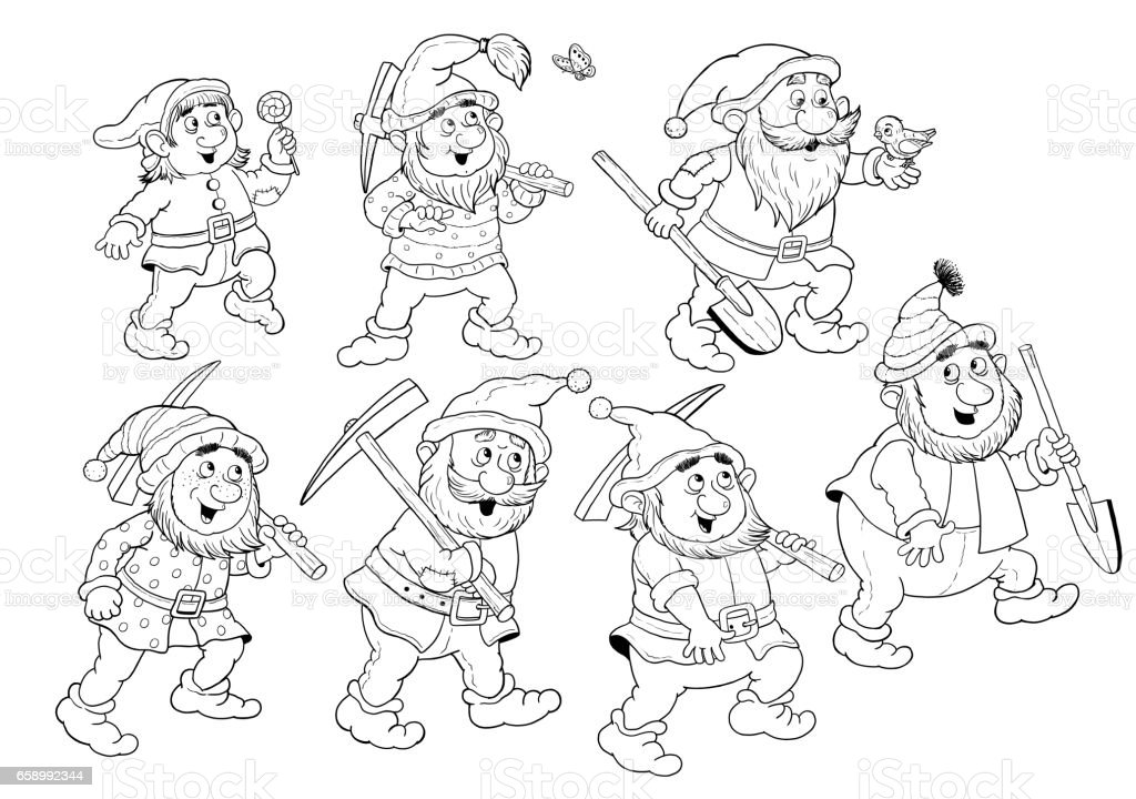 Snow White And The Seven Dwarfs Fairy Tale Coloring Page Coloring Book  Illustration For Children Cute And Funny Cartoon Characters Stock  Illustration ...