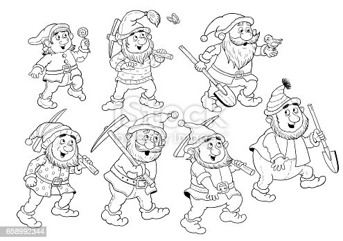 Snow White And The Seven Dwarfs Fairy Tale Coloring Page
