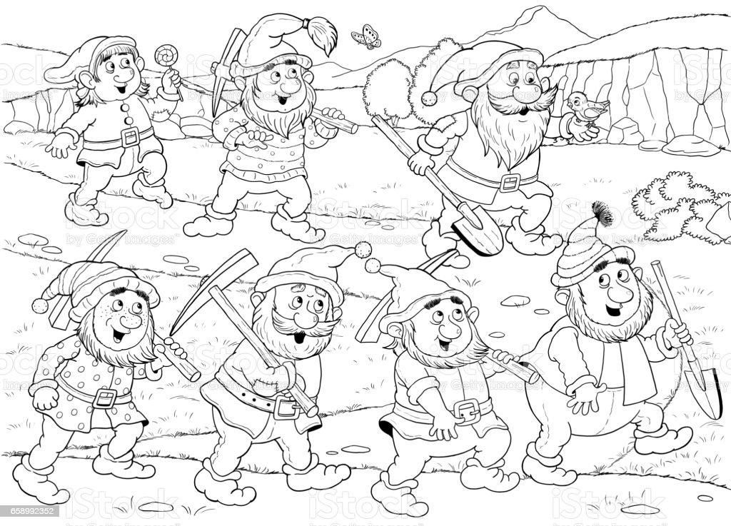 Ilustración De Blanca Nieves Y Los Siete Enanitos Cuento De