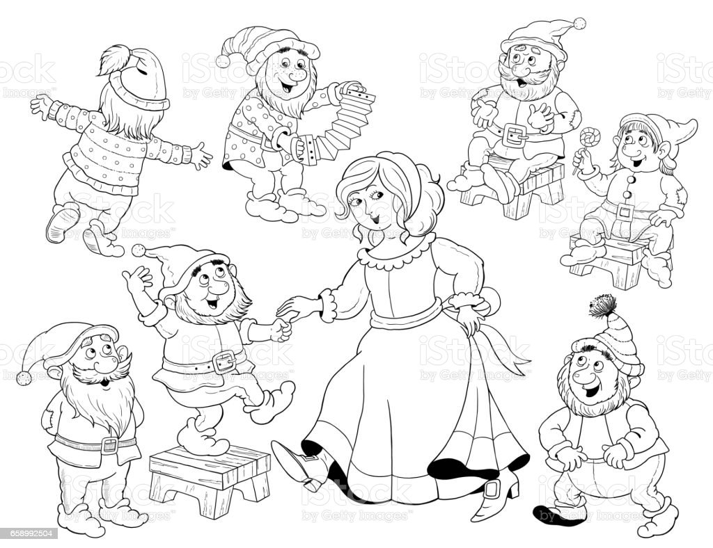 Snow White and the seven dwarfs. Fairy tale. Coloring page. Coloring book. Illustration for children. Cute and funny cartoon characters royalty-free snow white and the seven dwarfs fairy tale coloring page coloring book illustration for children cute and funny cartoon characters stock vector art & more images of armenia - country