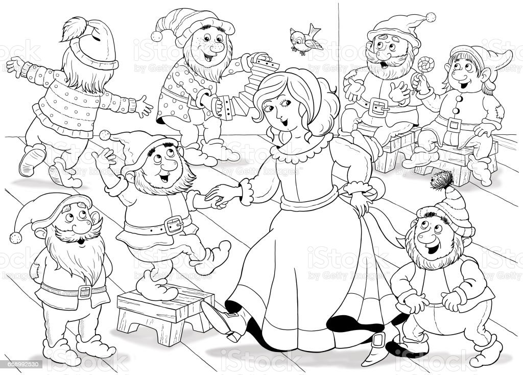 Snow White And The Seven Dwarfs Fairy Tale Coloring Page ...