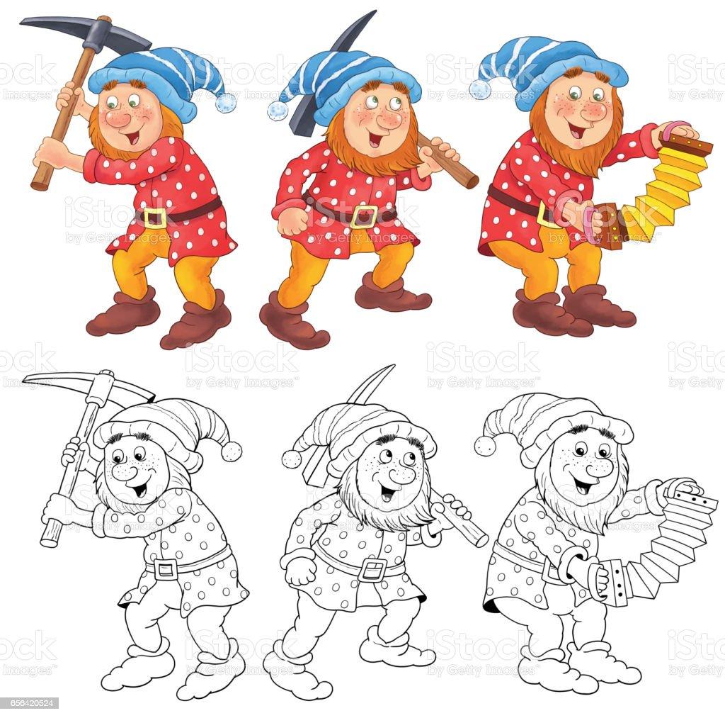 Ilustración De Blanca Nieves Y Los Siete Enanitos Cuento De Hadas