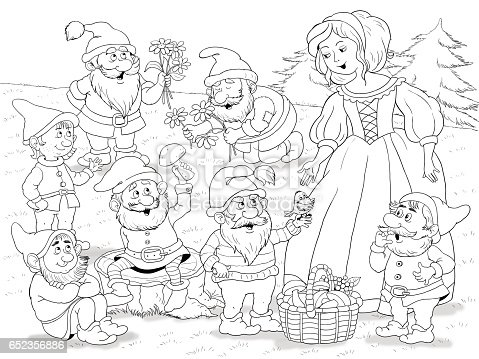 Snow White And The Seven Dwarfs Fairy Tale Illustration