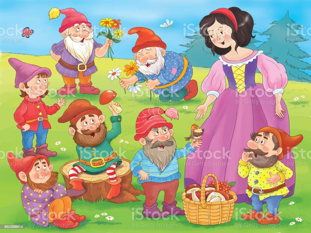 Sneeuwwitje En De Zeven Dwergen Sprookje Illustratie Voor Kinderen
