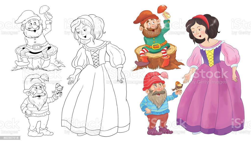 Pamuk Prenses Ve Yedi Cüceler Peri Masalı çizim çocuklar Için Boyama
