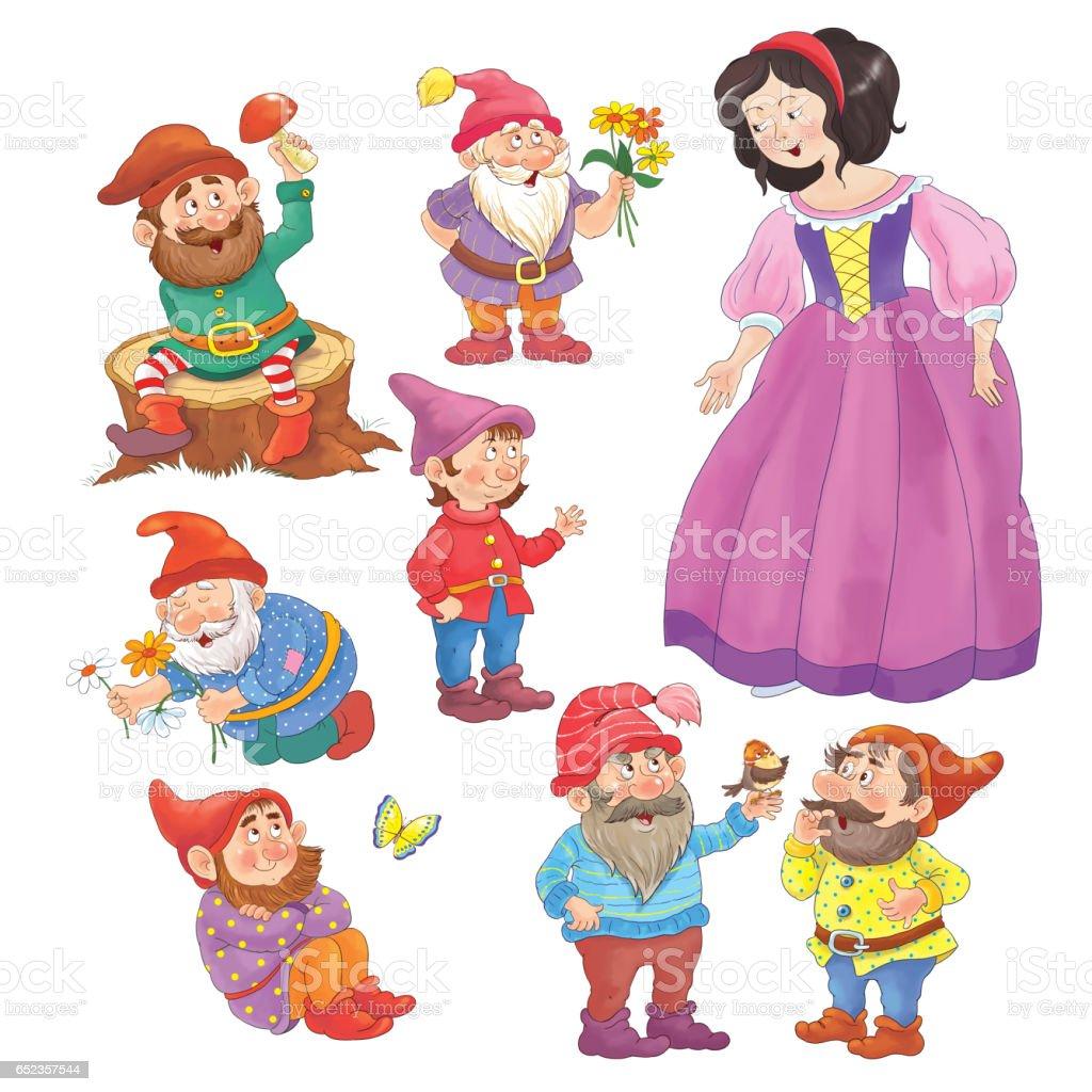 Pamuk Prenses Ve Yedi Cüceler Peri Masalı çizim çocuklar Için Boyama Sayfası Cute Komik çizgi Film Karakterleri Stok Vektör Sanatı 7 Rakamınin Daha