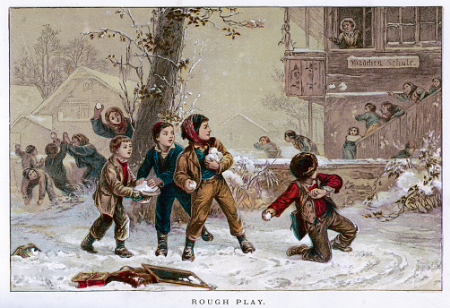 Vintage colour lithograph from 1875 showibng a group of victorian children having a snowball fight  [b]View More:[/b] [url=http://www.istockphoto.com/file_search.php?action=file&lightboxID=2789749][img]http://www.walker1890.co.uk/istock/istock-engraving.jpg[/img][/url][url=http://www.istockphoto.com/file_search.php?action=file&lightboxID=9693292][img]http://www.walker1890.co.uk/istock/istock-christmas.jpg[/img][/url]