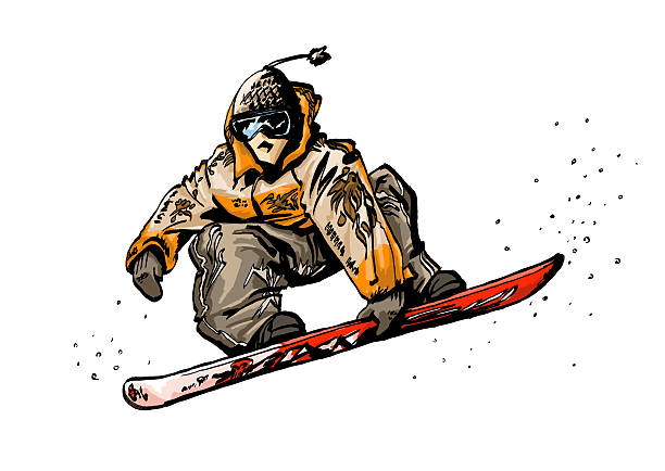 snowboard illustration painted by hand digitally using a Wacom Cintiq Display and the software Painter.Related images: winter sport stock illustrations