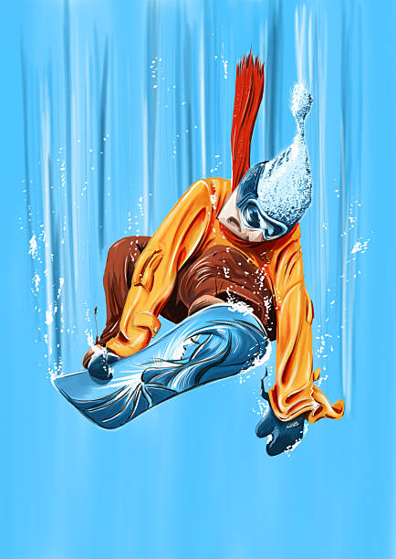 snowboard jump down painting by hand digitally. winter sport stock illustrations