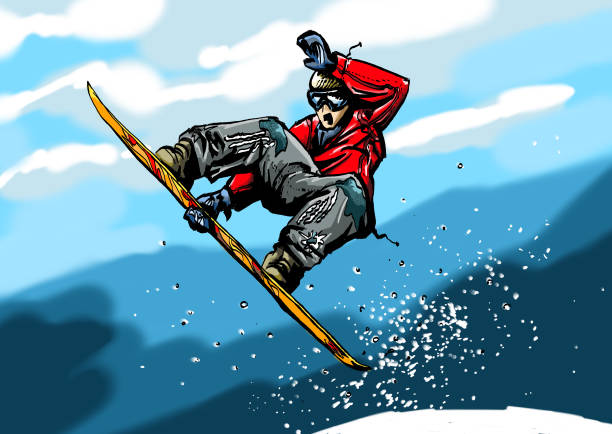Snowboard Jump painted by hand digitally using a Wacom Cintiq Display and the Software Painter. winter sport stock illustrations