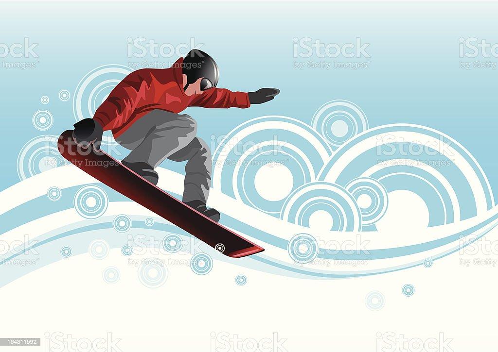 Snowboarder in red vector art illustration