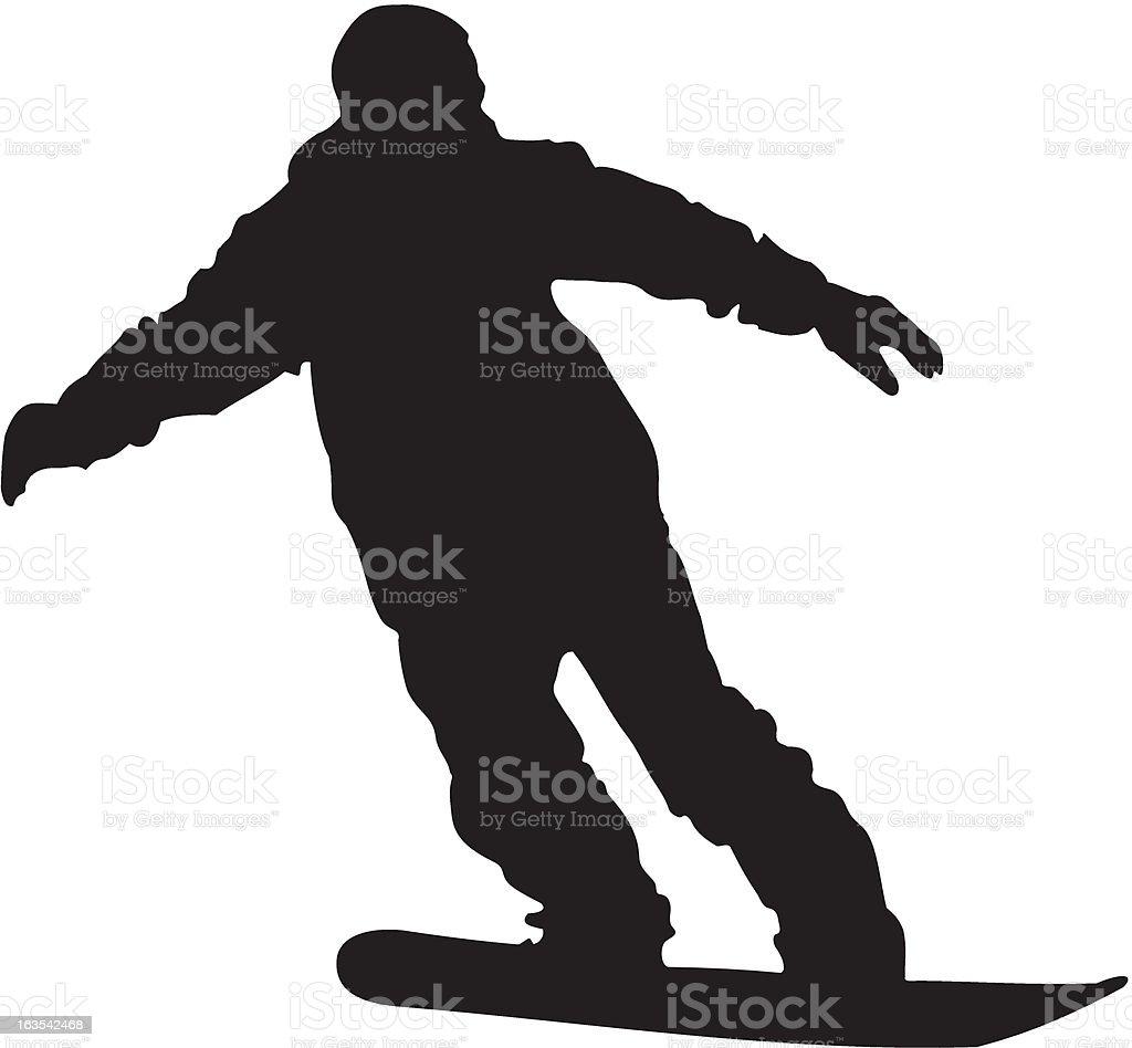 Snowboarder silhouette vector art illustration