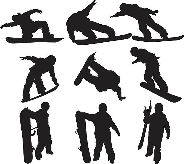 Snowboarders Snowboarders stunt stock illustrations