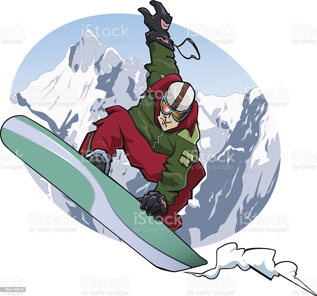 a snowboarder is jumping. He wears a red and green suit. Snowy...